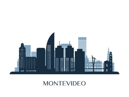 Montevideo skyline, monochrome silhouette. Vector illustration. Иллюстрация