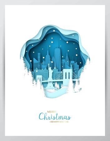 Snowy New York city. Paper art greeting card. Merry Christmas and Happy New Year NY. Vector illustration. Vettoriali