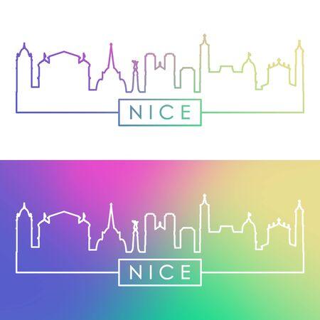 Nice skyline. Colorful linear style. Editable vector file.