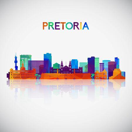 Pretoria skyline silhouette in colorful geometric style. Symbol for your design. Vector illustration. Vetores