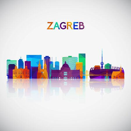 Zagreb skyline silhouette in colorful geometric style. Symbol for your design. Vector illustration.