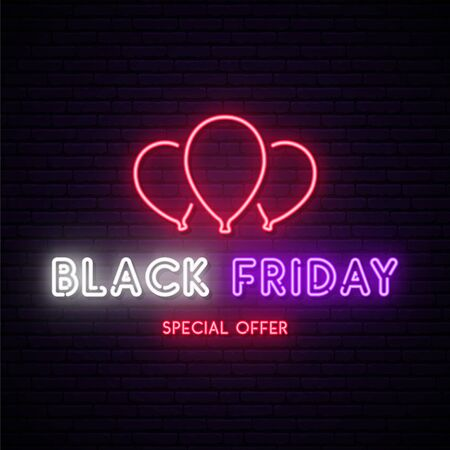 Black Friday neon signboard. Neon balloons and sale text on brick wall background. Stock vector illustration.