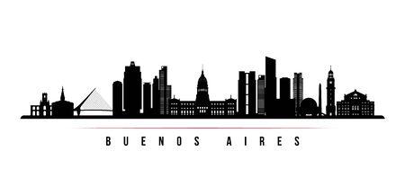 Baner poziomy panoramę Buenos Aires. Czarno-biała sylwetka Buenos Aires, Argentyna. Szablon wektor dla swojego projektu. Ilustracje wektorowe