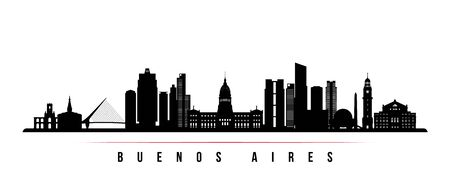 Buenos Aires skyline horizontal banner. Black and white silhouette of Buenos Aires, Argentina. Vector template for your design.