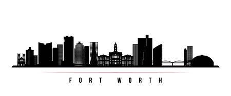 Bannière horizontale d'horizon de Fort Worth. Silhouette noire et blanche de Fort Worth, Texas. Modèle vectoriel pour votre conception.