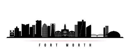 Fort Worth skyline horizontal banner. Black and white silhouette of Fort Worth, Texas. Vector template for your design.  Illustration