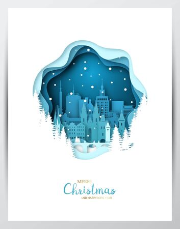 Snowy Prague city. Paper art greeting card. Merry Christmas and Happy New Year Prague. Vector illustration.