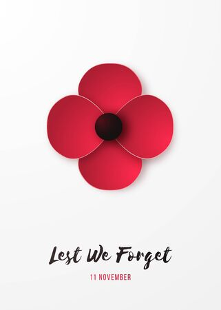 Remembrance day vertical banner with red Poppy flower and inscription Lest we forget. Poppy in origami style.. Design for brochure, flyer, poster and social network. Vector illustration.