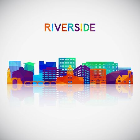 Riverside skyline silhouette in colorful geometric style. Symbol for your design. Vector illustration.