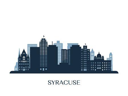 Syracuse skyline, monochrome silhouette. Vector illustration.