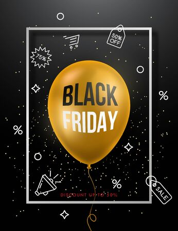 Black Friday Sale Poster with golden balloon and simple discount icons. Vector Sale banner.