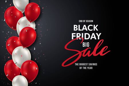 Vector banner with realistic red and white balloons and Sale inscription. Black Friday background.