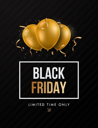 Black Friday Trendy Sale design template for advertisement, social and fashion ads. Realistic golden balloons on dark background. Stock vector illustration.