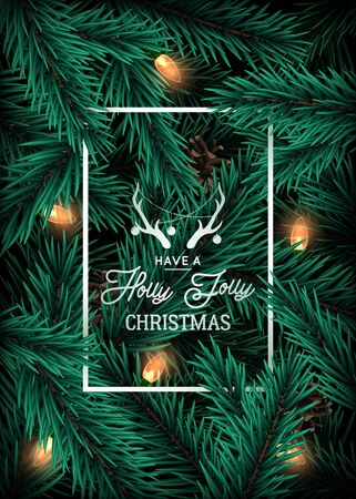 Realistic Christmas tree branches background with lighting garland. Vector greeting card with text: Have a Holly Jolly Christmas. 일러스트