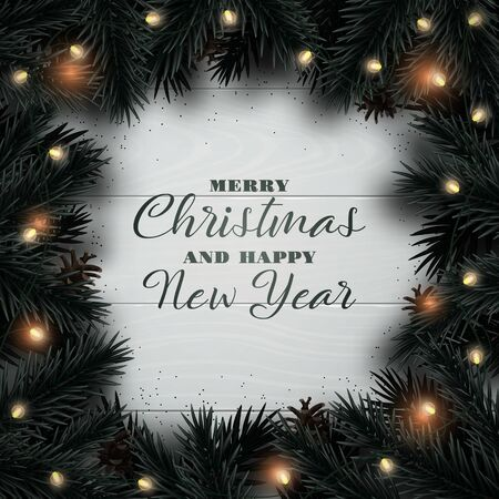 Merry Christmas and Happy New Year design background. Christmas tree branches with light garland and pine cone on wooden texture backdrop. Xmas Flat Lay. Иллюстрация