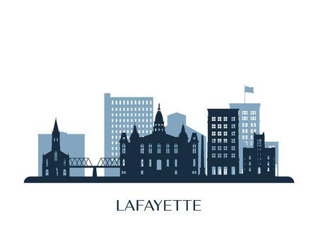 Lafayette skyline, monochrome silhouette. Vector illustration. 矢量图像