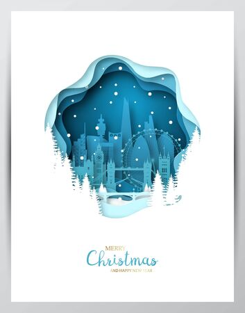 Snowy London city. Paper art greeting card. Merry Christmas and Happy New Year London. Vector illustration.
