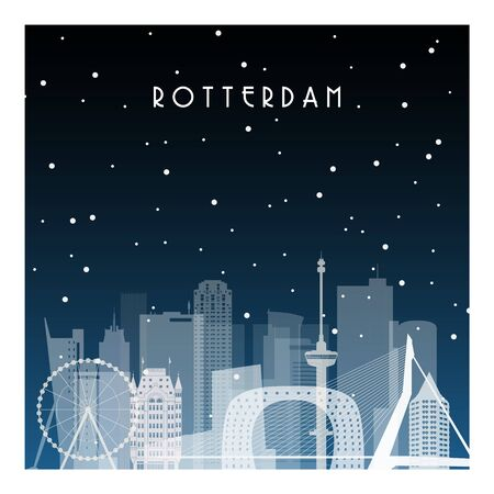 Winter night in Rotterdam. Night city in flat style for banner, poster, illustration, background. Stock Illustratie