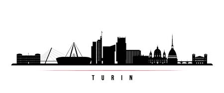 Turin skyline horizontal banner. Black and white silhouette of Buenos Turin, Italy. Vector template for your design.