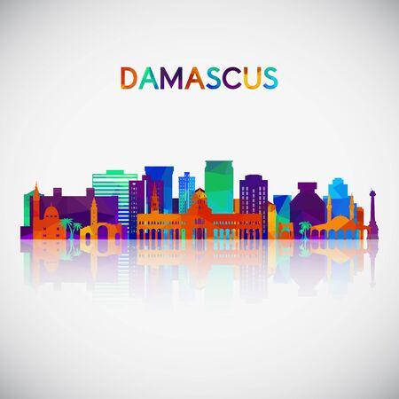 Silhouette d'horizon de Damas dans un style géométrique coloré. Symbole pour votre conception. Illustration vectorielle. Vecteurs
