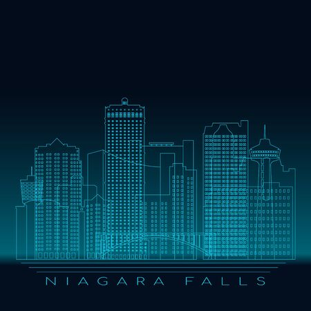 Niagara Falls skyline, detailed silhouette. Modern vector illustration, blue linear style.