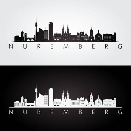 Nuremberg skyline and landmarks silhouette, black and white design, vector illustration.