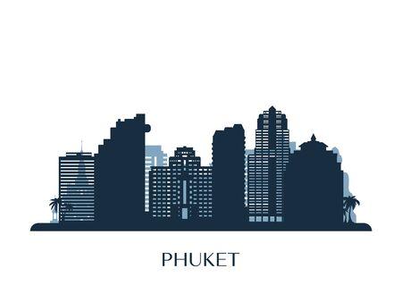 Phuket skyline, monochrome silhouette. Vector illustration.