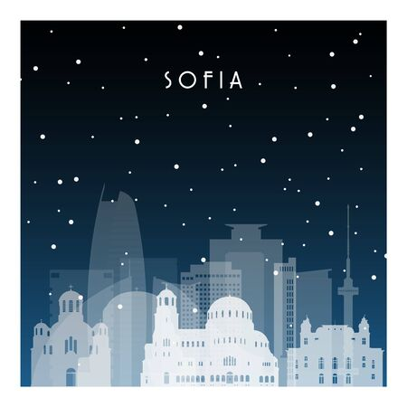 Winter night in Sofia. Night city in flat style for banner, poster, illustration, background. 向量圖像