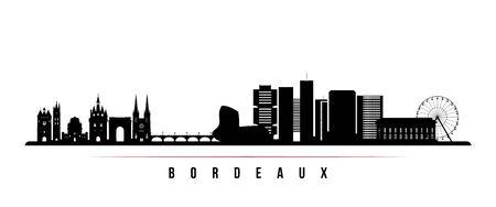 Bordeaux skyline horizontal banner. Black and white silhouette of Bordeaux, France. Vector template for your design. Vettoriali