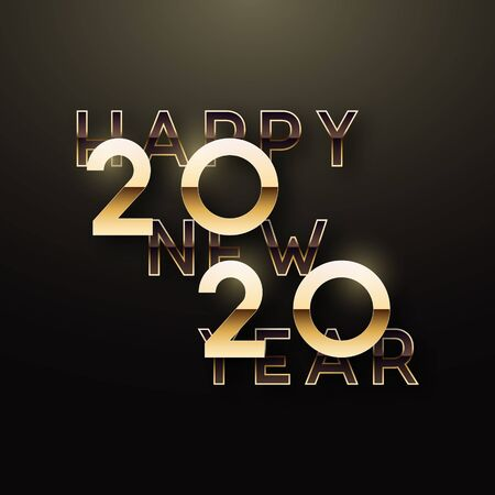 Happy New Year 2020. Bright golden insqription on dark background. Vector realistic gold numbers 2020. Stock Vector - 134606329