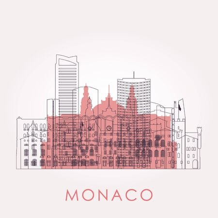 Outline Monaco skyline with landmarks. Vector illustration. Business travel and tourism concept with historic buildings. Image for presentation, banner, placard and web site. 向量圖像