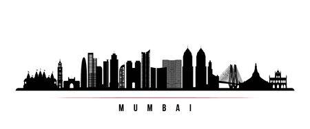 Mumbai skyline horizontal banner. Black and white silhouette of Mumbai, India. Vector template for your design. Vetores
