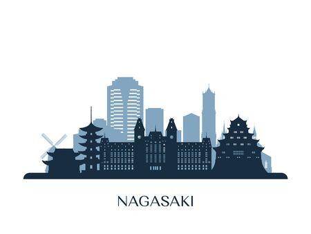 Nagasaki skyline, monochrome silhouette. Vector illustration.