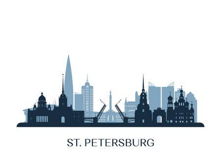 St. Petersburg skyline, monochrome silhouette. Vector illustration.