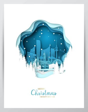 Snowy Vienna city. Paper art greeting card. Merry Christmas and Happy New Year Vienna. Vector illustration.