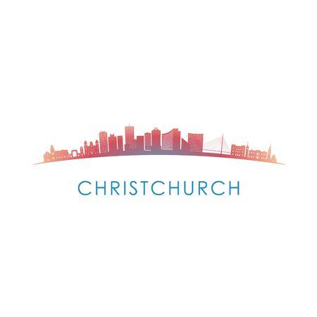 Christchurch skyline silhouette. Vector design colorful illustration.