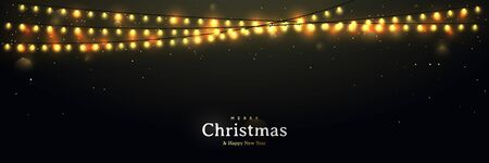 Abstract background with glowing lights. Festive vector banner with lights garlands. Merry Christmas and Happy New Year.