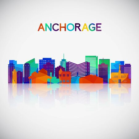 Anchorage skyline silhouette in colorful geometric style. Symbol for your design. Vector illustration.