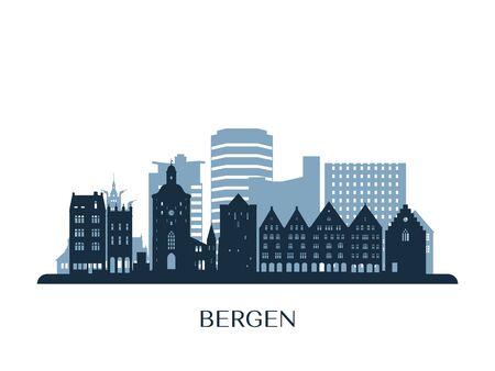 Bergen skyline, monochrome silhouette. Vector illustration.