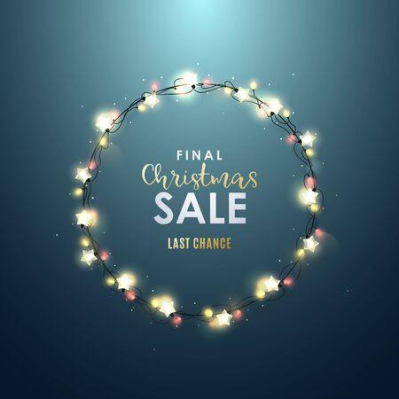 Weihnachtsdekorativer Kreisrahmen mit realistischen Lichtgirlanden. Letzter Weihnachtsverkaufshintergrund.