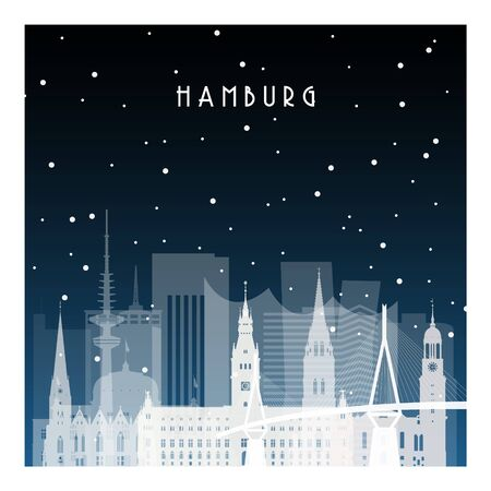 Winter night in Hamburg. Night city in flat style for banner, poster, illustration, background.