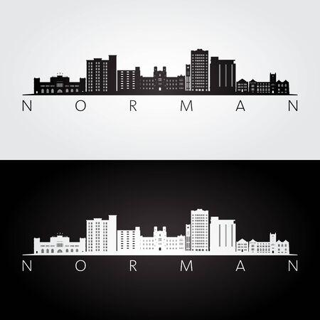 Norman, Oklahoma USA skyline and landmarks silhouette, black and white design, vector illustration.