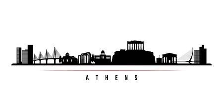 Athens skyline horizontal banner. Black and white silhouette of Athens, Greece. Vector template for your design.