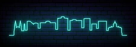 Blue neon skyline of Bloemfontein city. Bright Bloemfontein long banner. Vector illustration.