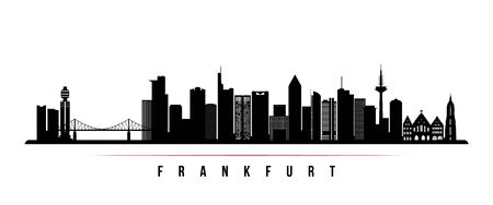 Frankfurt skyline horizontal banner. Black and white silhouette of Frankfurt, Germany. Vector template for your design.