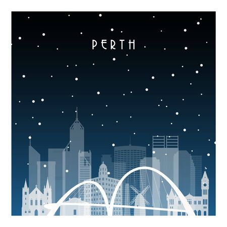 Winter night in Perth. Night city in flat style for banner, poster, illustration, background.