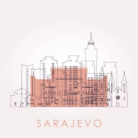 Outline Sarajevo skyline with landmarks. Vector illustration. Business travel and tourism concept with historic buildings. Image for presentation, banner, placard and web site.