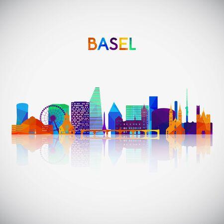 Silueta de horizonte de Basilea en estilo geométrico colorido. Símbolo para su diseño. Ilustración vectorial.