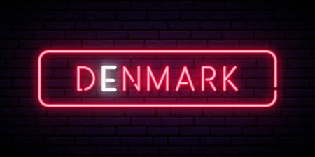Denmark neon sign. Bright light signboard. Vector banner. Ilustrace