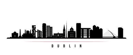 Dublin skyline horizontal banner. Black and white silhouette of Dublin, Ireland. Vector template for your design.  Vettoriali